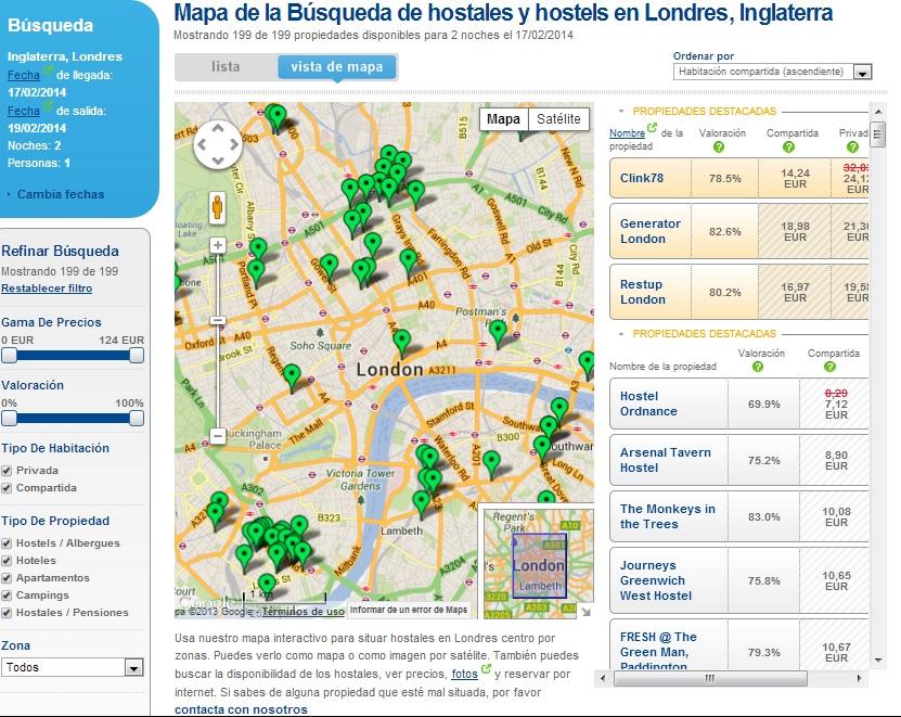 Mapa hostelbookers. Cómo encontrar alojamiento barato por Internet