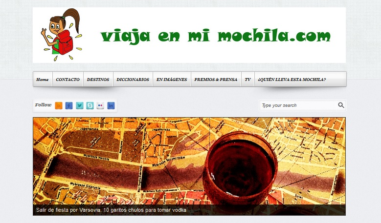 Viaja en mi Mochila WEB. Captura de pantalla