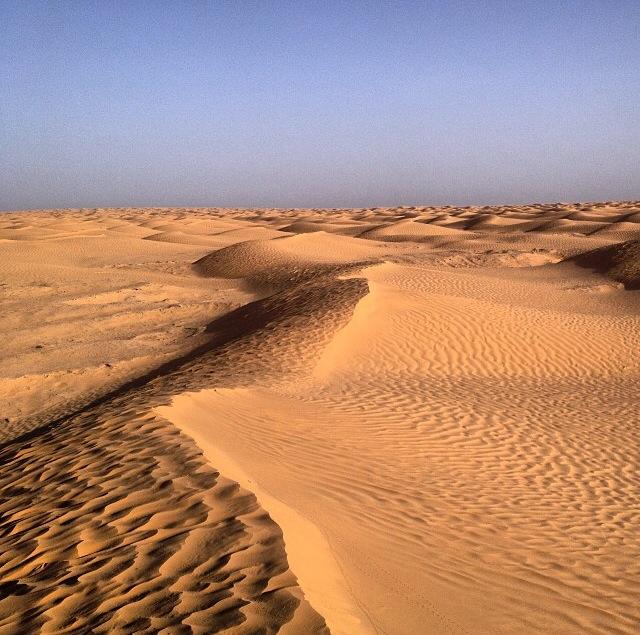 Dunas del desierto del Sahara en el Ksar Ghilane (Tunez)