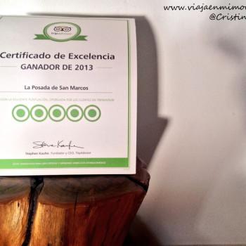Certificado de excelencia Trip Advisor. Posada San Marcos (Alájar, Aracena, Huelva)