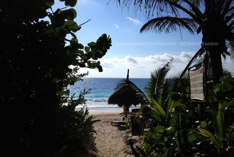 Acceso a una playa del Caribe de la Posada Ecológica Dos Ceibas (Tulúm. Quintana Roo, México)