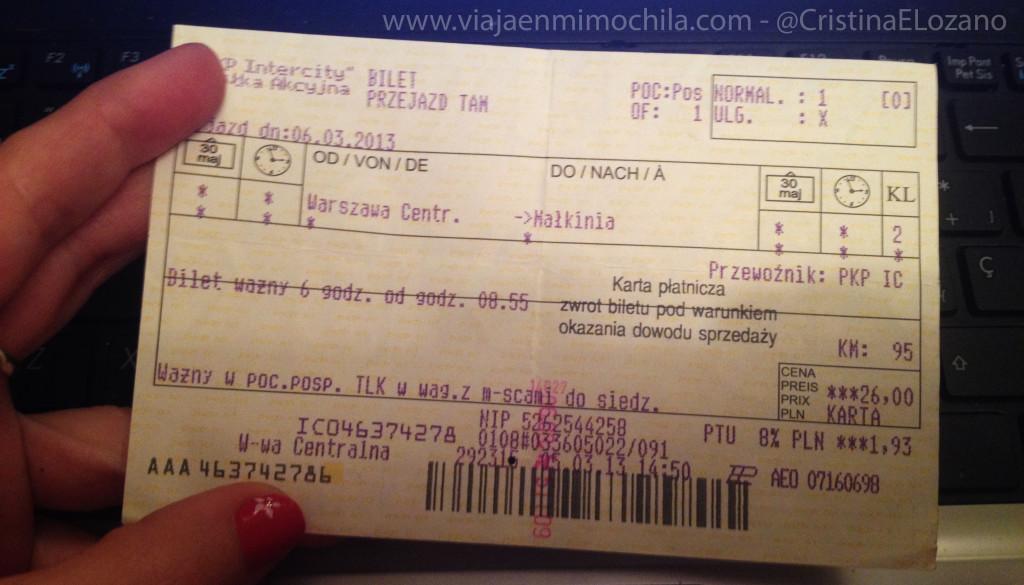 Billete de tren Varsovia - Malkinia