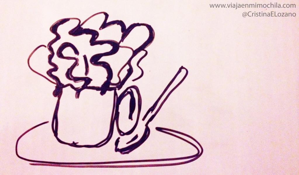 Boceto de un café olé