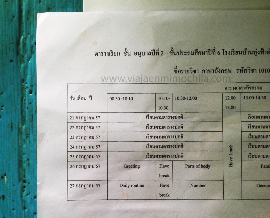 Horario de clases en tailandes