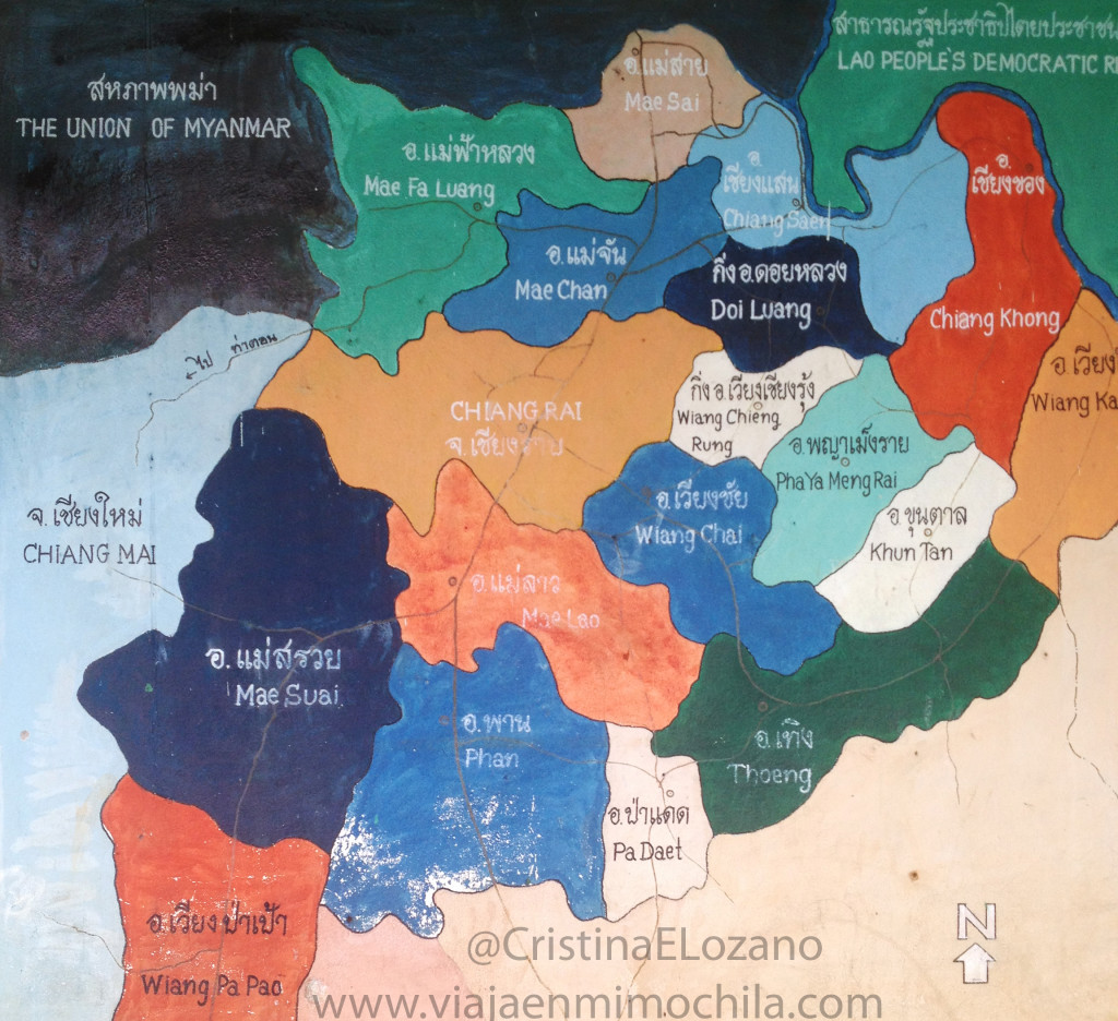 Mapa zona Chiang Mai - Chiang Rai (norte de Tailandia)