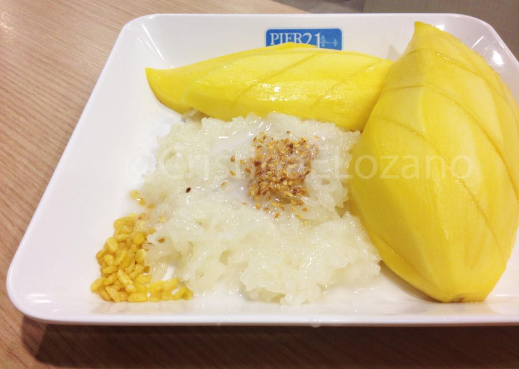 Mango sticky rice. Dulces de Tailandia.