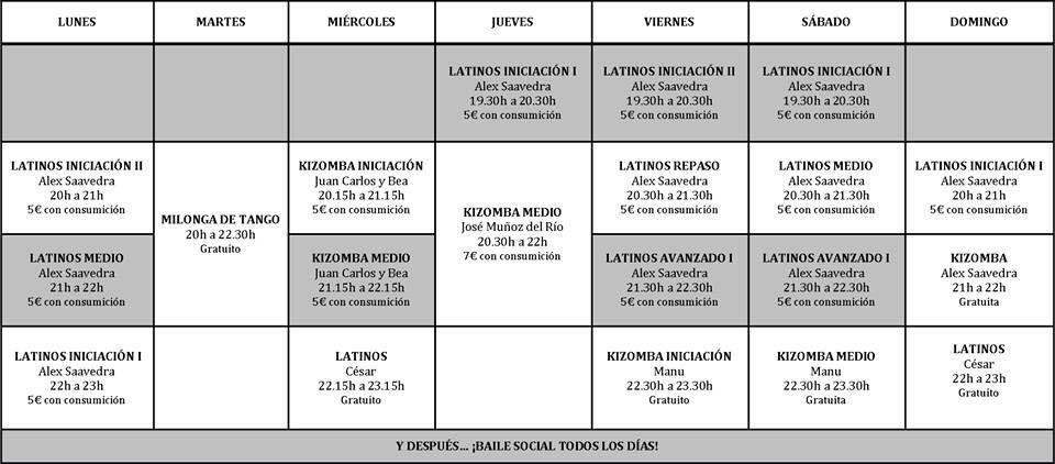 Horarios clases de salsa, bachata y kizomba en Santander