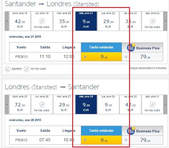 Santander - Londres 20 euros 2