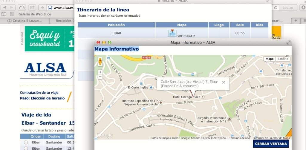 Estación de autobuses de Eibar según Alsa Autobuses