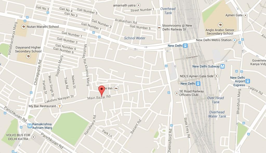 Mapa Main Bazaar, Nueva Delhi (India)