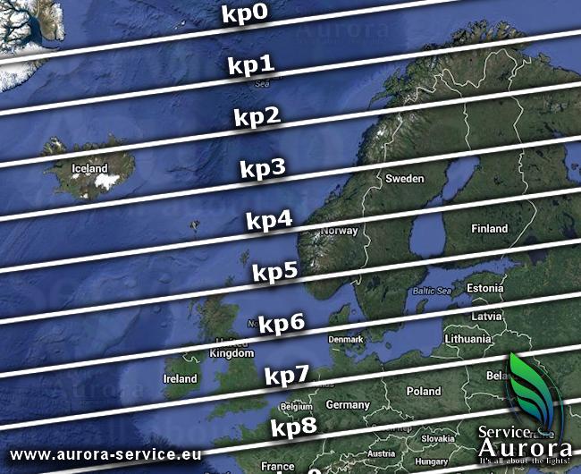 Mapa índices kp de Aurora Service (http://www.aurora-service.eu)