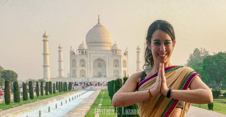 Cristina E. Lozano, sari, Taj Mahal, Agra, India
