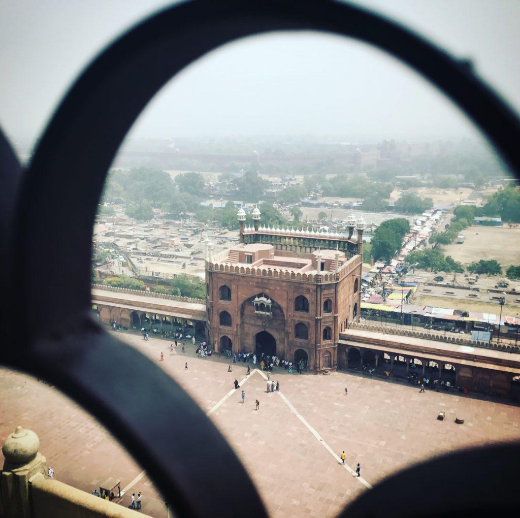 Mirador sobre Delhi. Minarete Mezquita Jama Masjid (India)