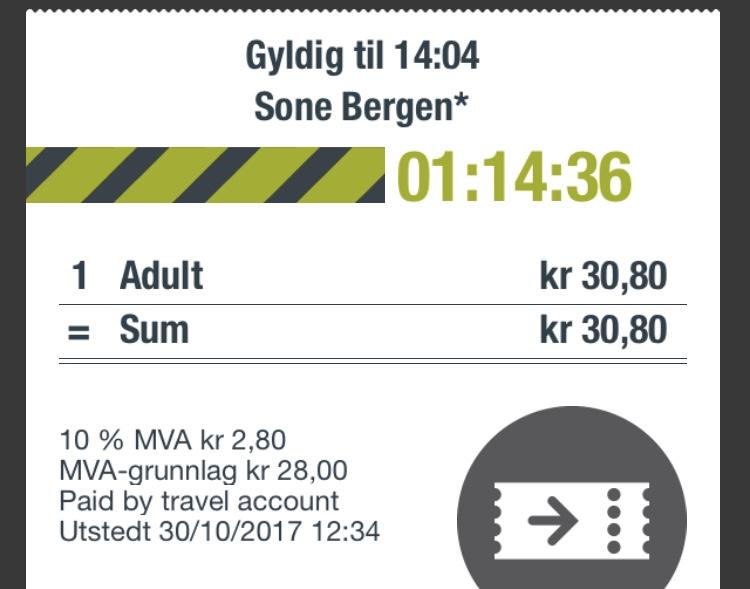 como pagar el autobus y el tranvia en Bergen