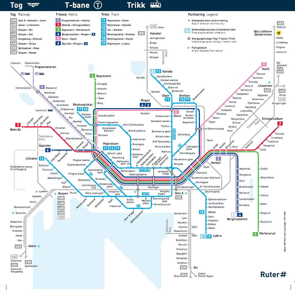 Mapa del transporte público en Oslo (Noruega)