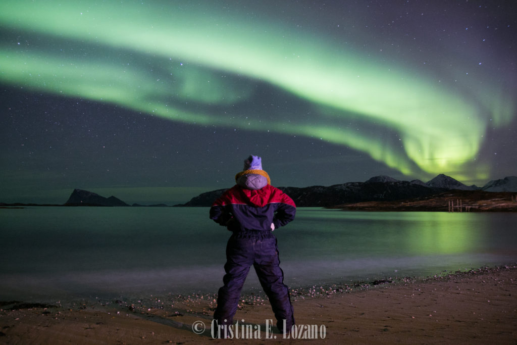 Cristina E. Lozano. Aurora boreal. Dia 1. Playa. Tromso. Noruega. Febrero de 2018