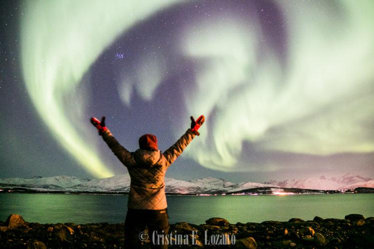Cristina E. Lozano. Aurora boreal. Dia 2. Febrero de 2018. Tromso. Noruega._