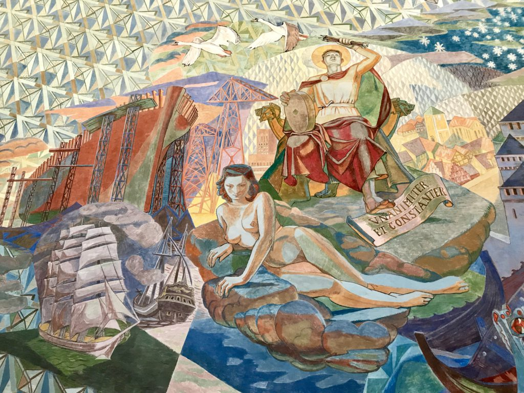 Mural del ayuntamiento de Oslo (Noruega)