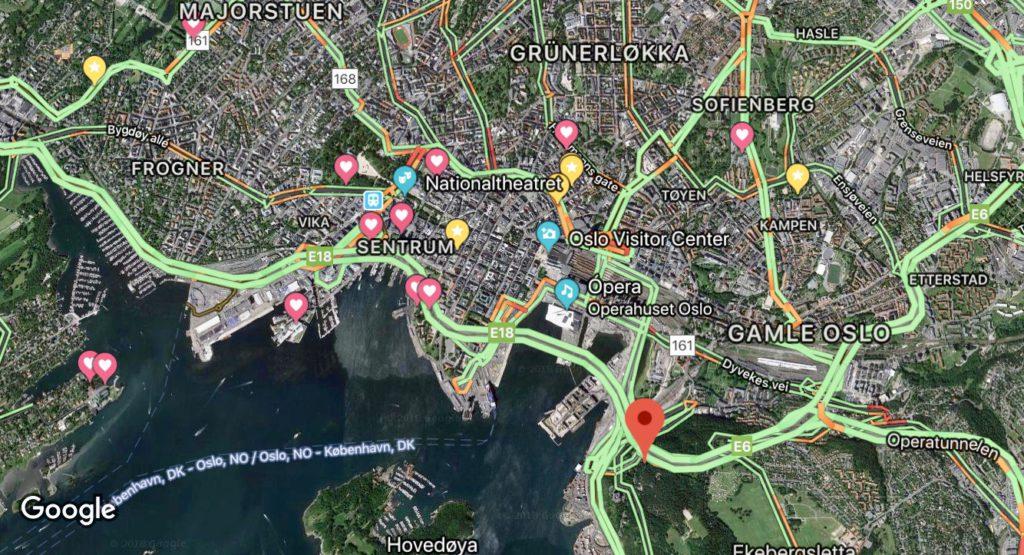 Mapa de atracciones de Oslo (Noruega)