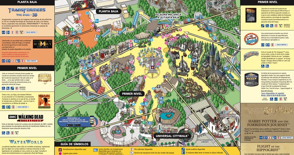 Mapa Universal Studios en español