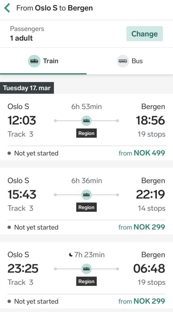 Horarios tren Oslo Bergen