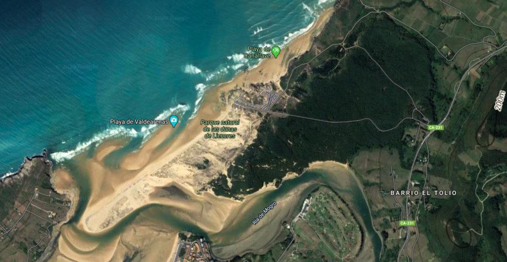 Playa de Liencres (Cantabria, vista aérea)