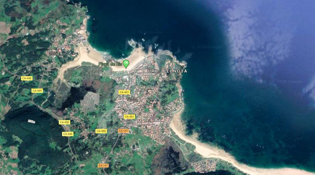 Playas de Noja (Cantabria, vista aérea)