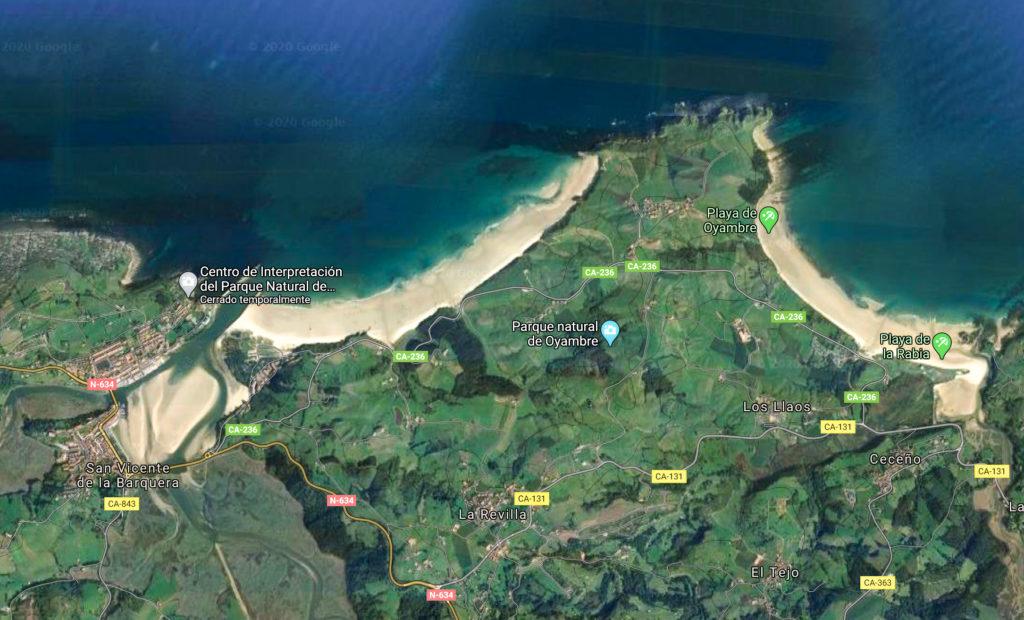 Playas de San Vicente (Cantabria, vista aérea)