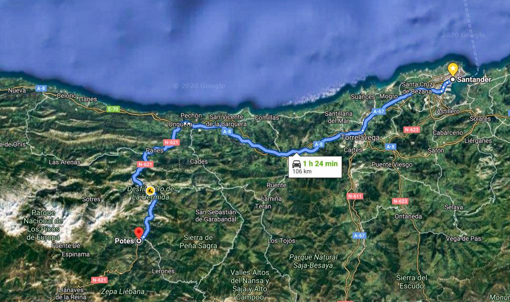 Mapa como llegar a Potes