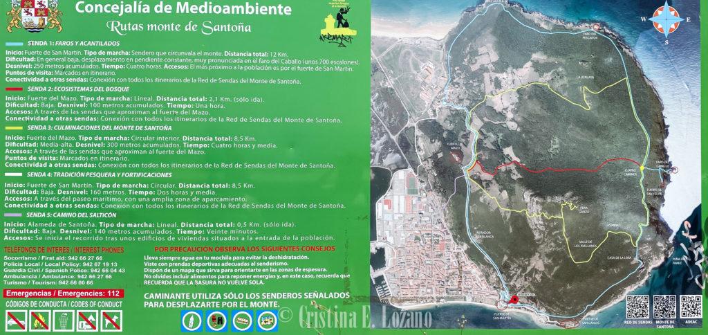 Mapas rutas Faro del Caballo y Santoña